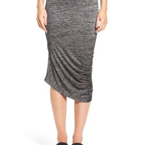 Trouve Ruched Midi Skirt in Black Spacedye - 242